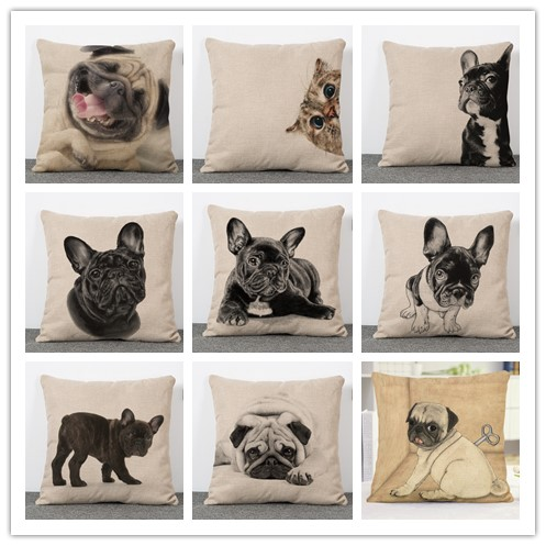 Animal portraits dog linen cushion cover for office chair