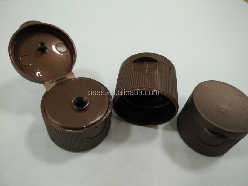 Tan 28/410 mm Plastic Flip Top Bottle Cap