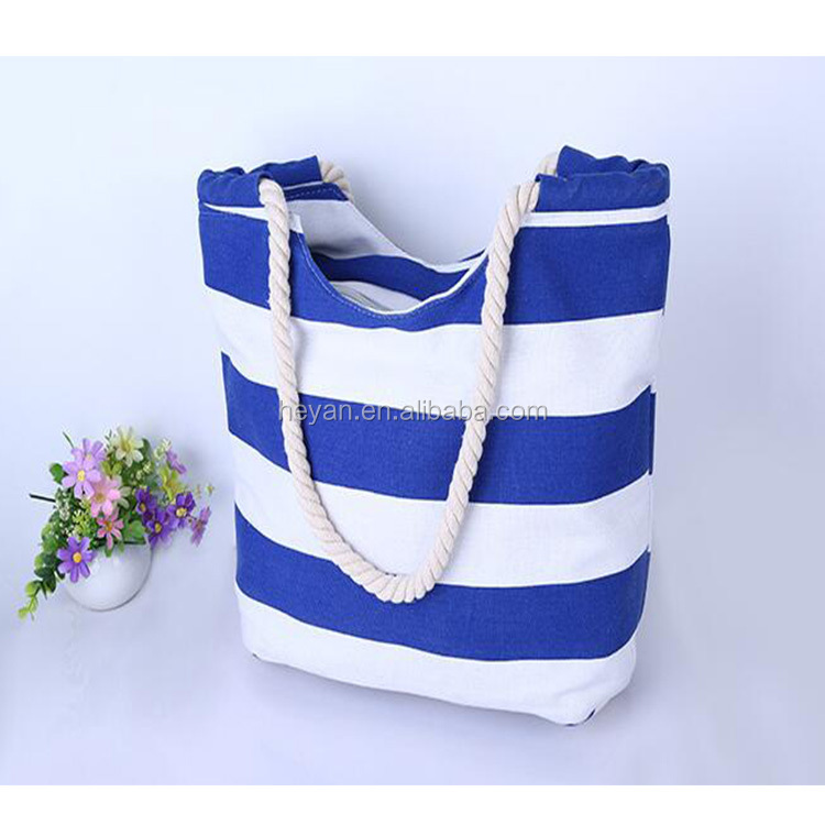 Fashion stripe canvas beach tote bag with rope handles wholesale