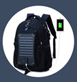 customize men's wholesale solar backpack charger 2017,multifunctional black polyester backpack with solar panels
