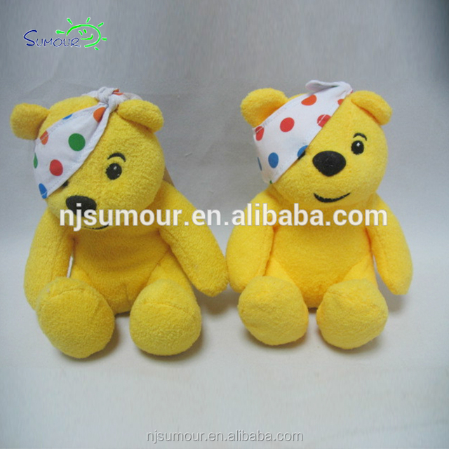 Pudsey Bear Teddy Soft Yellow Cuddly Plush Toy Spot Patterns 2018 Easter Egg NWT
