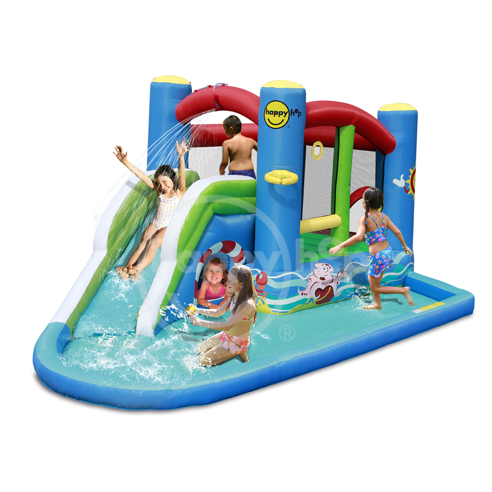 happyhop 2017 New Design -Airflow Play and Splash Center 9381,inflatable bouncer and Water Slide Park for sale