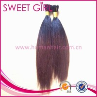Ombre two tone color virgin remy 100% Indian human hair extension bulk for black women