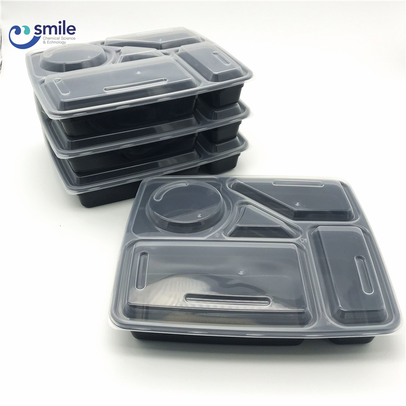 Leakproof disposable plastic pp takeaway 5 compartment food packaging containers for <strong>delivery</strong>