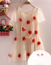 THREE-DIMENSIONAL FLOWER BEAUTY DRESS FOR YOUNG LADY