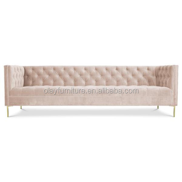 Antique classical style wooden traditional tufted <strong>sofa</strong>,Pink velvet button classical rental event furniture