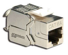 Premium Line Cat.6A 180 Degree Shielded Die-Casting Slim Toolless Keystone Jack