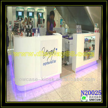 2013 cosmetic bar with stand showcase and 5*3m New barber shop acrylic cosmetic salon hair bar design with your logo