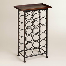 New Design Kitchenware 18 Bottle Wood Top Iron Wine Storage Shelves Stand for Sale