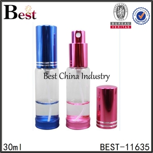 colored perfume atomizer wholesale 5ml 10ml 15ml 20ml 30ml 50ml spray pump perfume atomizer with aluminum mist sprayer cap