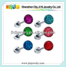 sparkling round enamel tongue ring piercing barbell