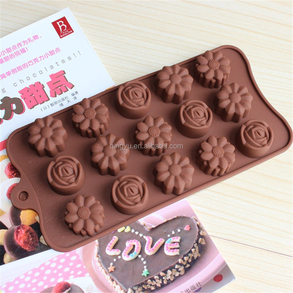 15 Cavity NEW style DIY Muffin Sweet Candy Jelly Ice Silicone new style rose chocolate mold
