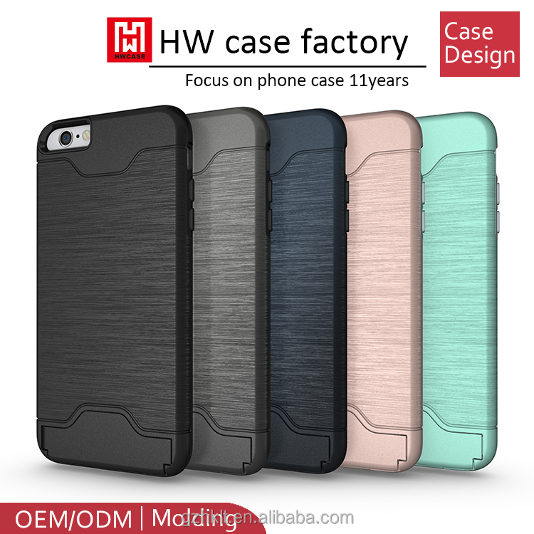 100% in Stock brushed pc tpu hybrid card slot Kickstand Combo protector Case For iPhone 6S Plus