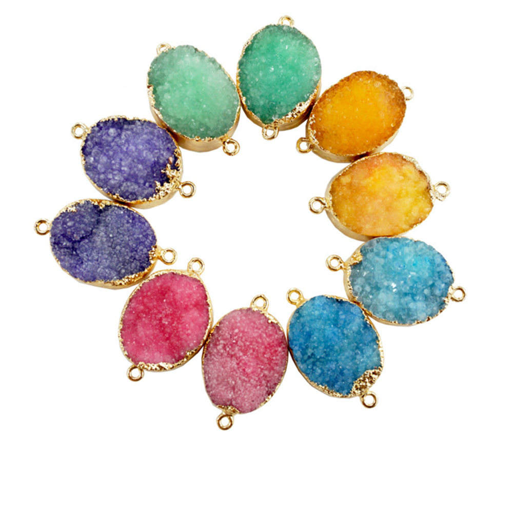 Gold Plated Bezel Double Bail Dyed Colorful Crystal Cluster Drusy Connector