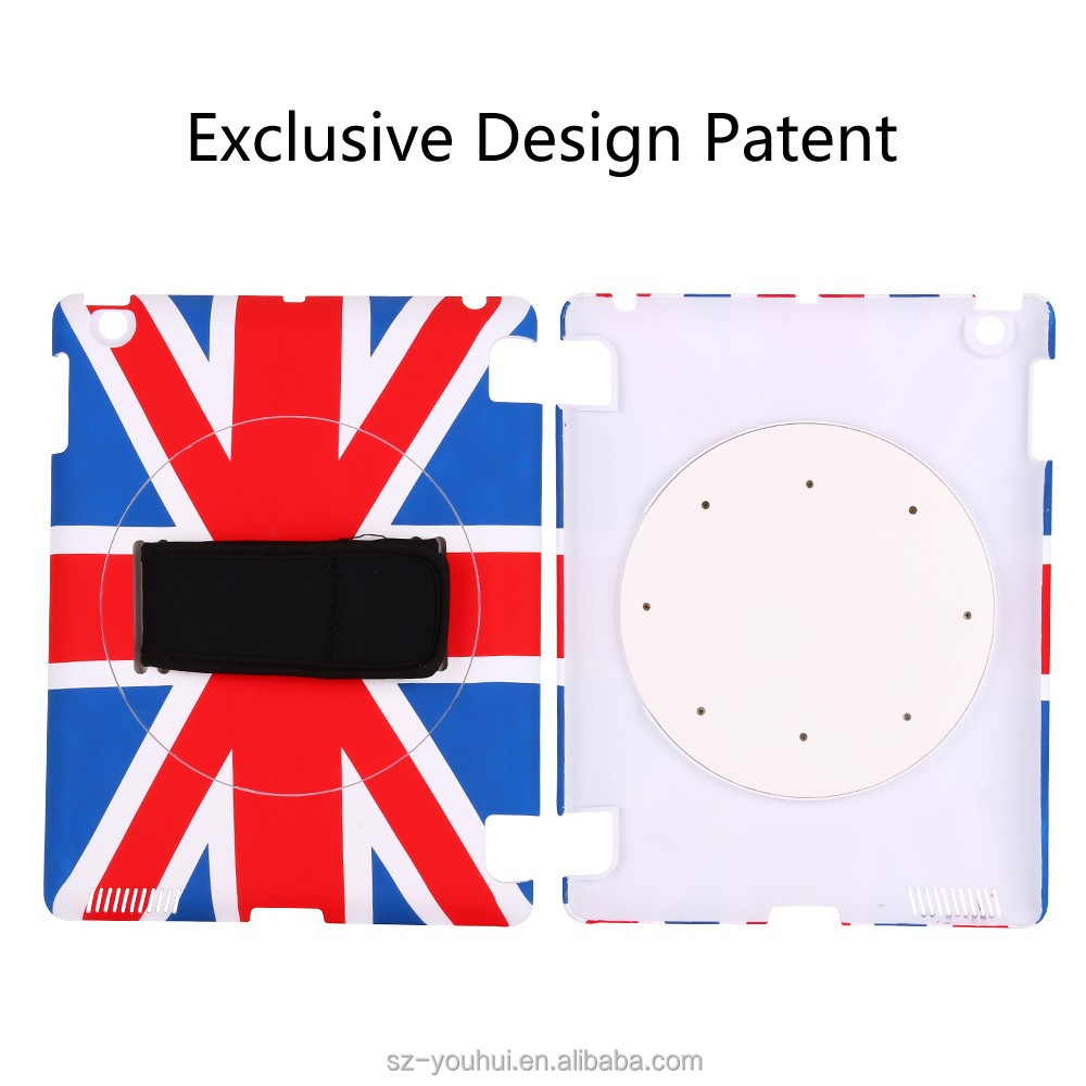 Factory price 360 rotating handhold print case for iPad 2/3/4