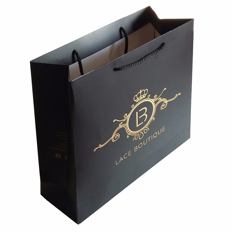 Gold Hot Stamping Black Custom Shopping Gift Packaging Paper Bags With Your Own Logo