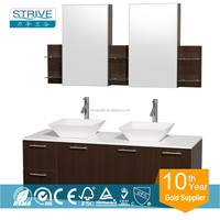 72'' WC-R4100-72 Wall-Mounted Double Bathroom Vanity Set with Bone Vessel Sinks and Stone Top & Mirror - Espresso
