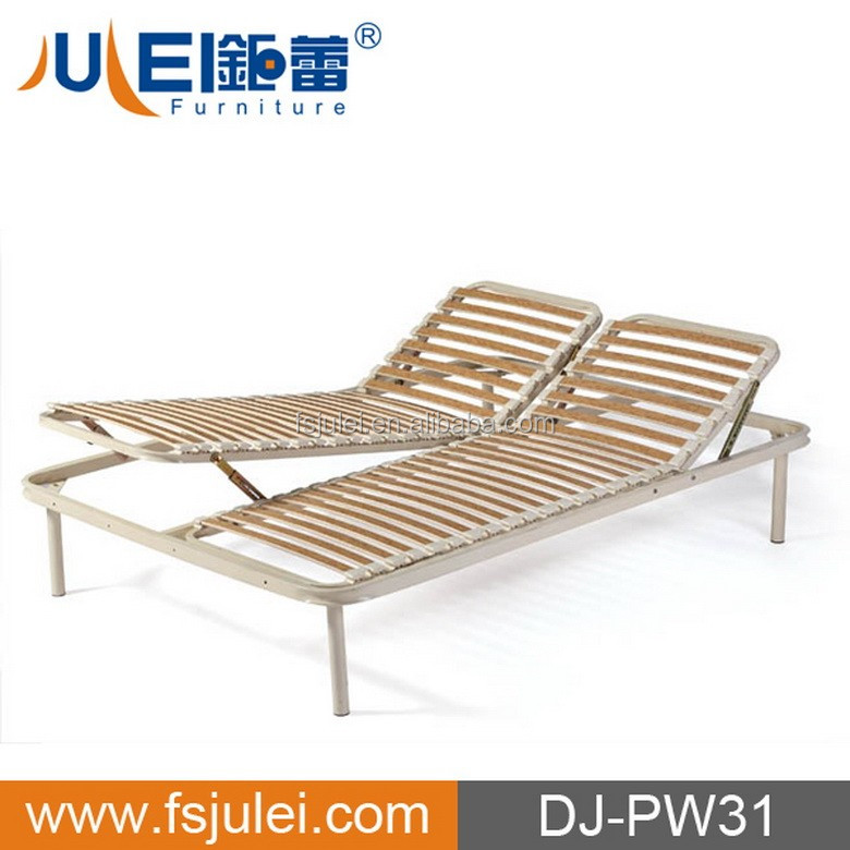 outdoor double size slatted steel manual adjust bed frame DJ-PW31