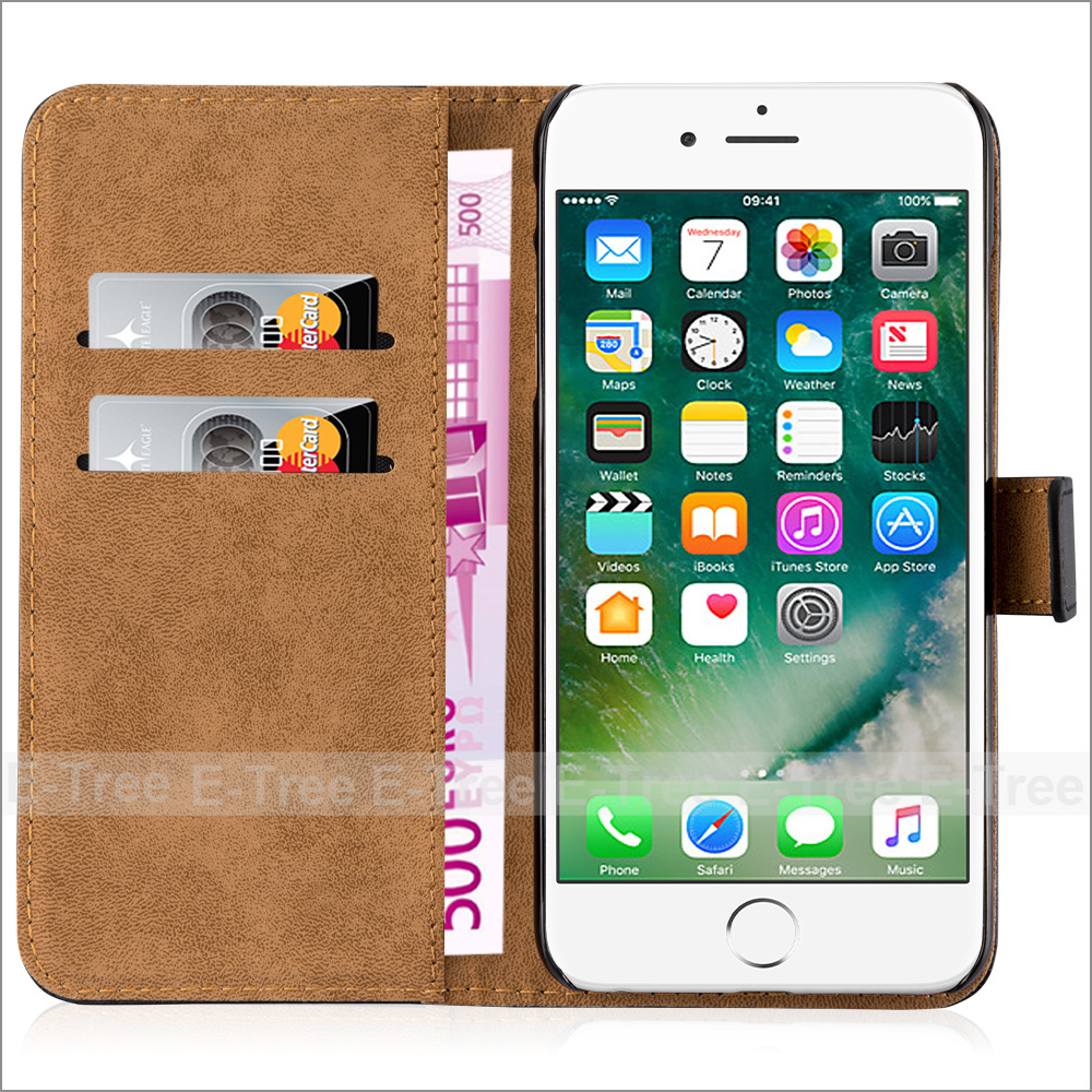 Cell Phone Credit Card Holder Wallet Pu Leather Flip Cover For iPhone 7 Plus