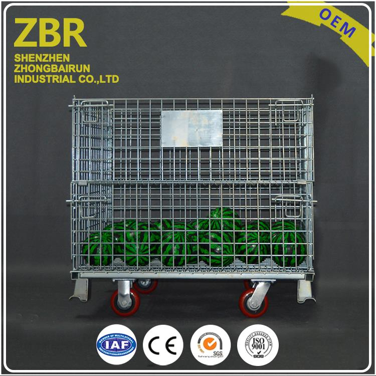 Collapsible wire mesh supermarket roll metal 4 walls folding cage
