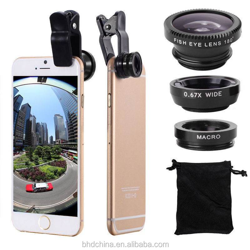 3 In 1 Mini Clip-on Optic Cell Phone Camera Lens Kit 235 Degree Fisheye Lens + 0.4x Wide Angle + 19x Macro Lens for Phones