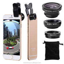3 In 1 Mini Clip-on Optic Cell Phone Camera Lens Kit 180 Degree Fisheye Lens + 0.67x Wide Angle + 10x Macro Lens for Smartphones
