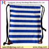 Horizontal blue white striped canvas drawstring bags for school students