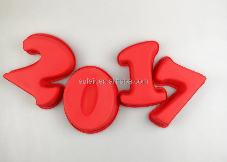 DIY number happy new year 2017 silicone cake mould