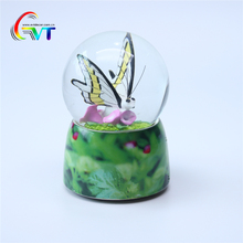 Factory direct colorful butterfly theme water globe make by resin