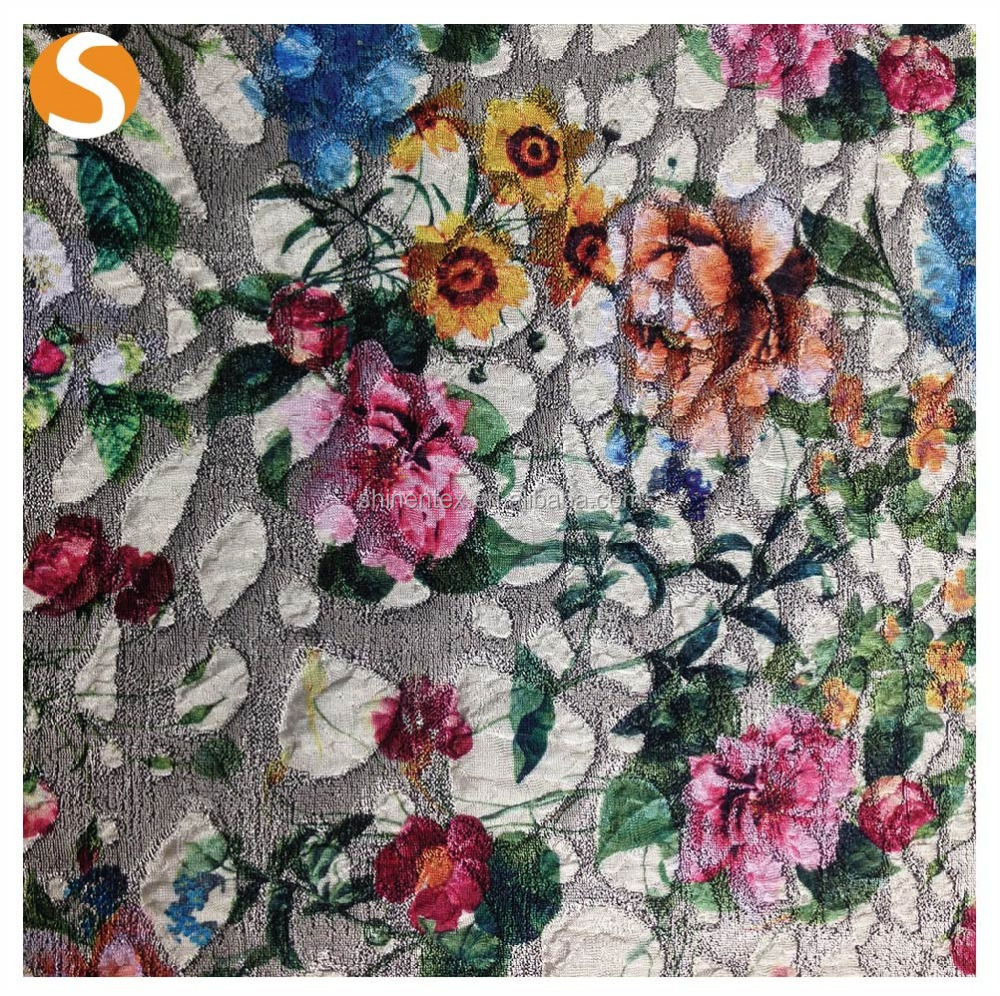 Microfiber floral print jacquard fabric for fashion dress