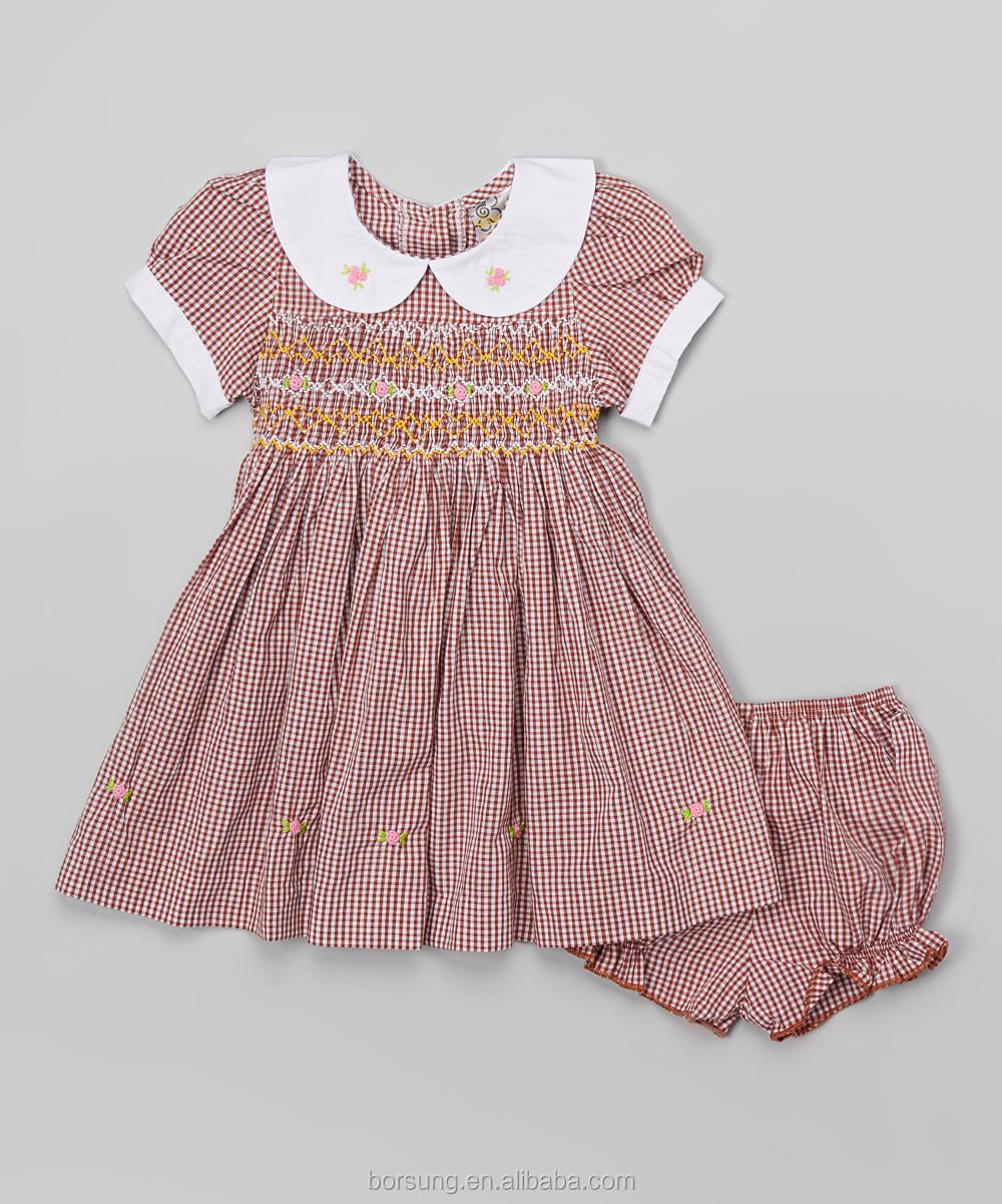 New Style Vintage Pink Kid Smocking Dresses Baby Peter Pan