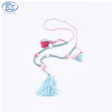 MBN036 2017 latest design charm turquoise stone vojue jewellery coral tassel teething beaded long necklace jewelry bohemia style
