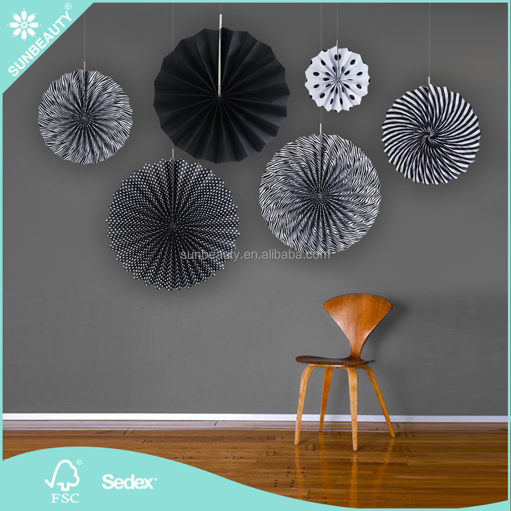 2017 Wholesale Sunbeauty Black Round Rosette Pinwheel Paper Fans for Birthday Party Hanging Backdrops <strong>Decorations</strong>