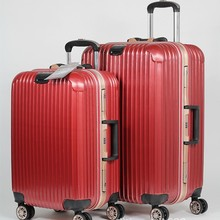 suitcase factory customized spinner wheels high end vintage style luggage 20 24 28inch ABS+PC aluminum suitcase