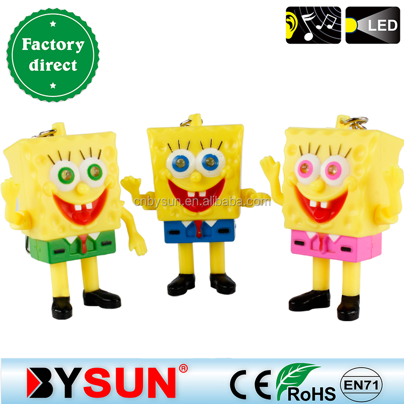 SpongeBob LED keychain with sound and light for promotional gift.