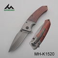 Assisted opening pocket knife with wood handle