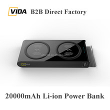 2017 VIDA Big Capacity 20000mAh Quick Charging Type-C Wireless Power Bank 18650 Li-ion Battery Charger