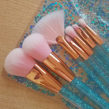 7 Pcs Professional Blue glitter Acrylic Handle brush Makeup Cosmetic brush with PVC bag