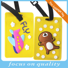 2016 high quality yellow let's fly airline promotion gifts travel soft pvc luggage tag with logo