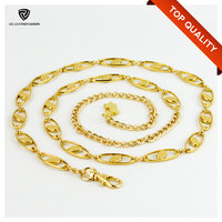 Fashion Alloy Snap Hook & Chains Waist Gold Metal Belt