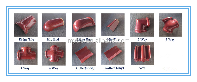 Glossy 300*400mm coffee brown glazed roof tile for sale