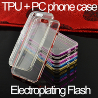 Newest electroplated tpu and pc flash light up mobile phone case for iphone 6 case