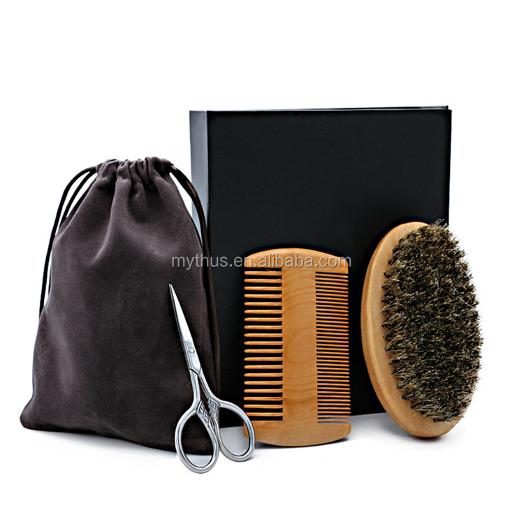 Stainless Steel Beard Grooming Scissors Mustache Brush And Comb Beard Gift Set For Black Men