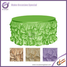 #776 Elegant style ruffled design lime wedding table skirting for round square table