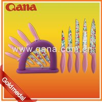 QANA Ceramic Stainless steel kitchen 6pcs colorful coating knife set