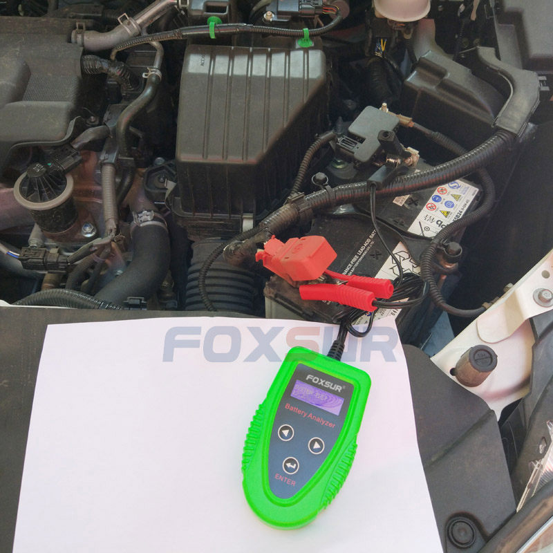 FOXSUR 12V Car Battery Tester Auto Battery Analyze CA EN DIN SAE IEC JIS CCA SOH