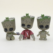 Gzltf Wholesale 3pcs/set 9cm Funko POP Movie Guardians of the Galaxy 2 3styles Baby Groot PVC Figure Bobblehead Collection Model