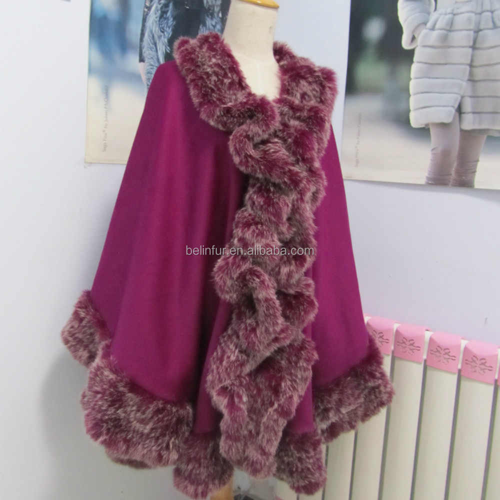 Winter Long Cashmere Cape Women Knitted Rabbit Fur Poncho