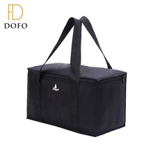 Black square hot and cold durable reusable extra large insulated picnic cooler bag