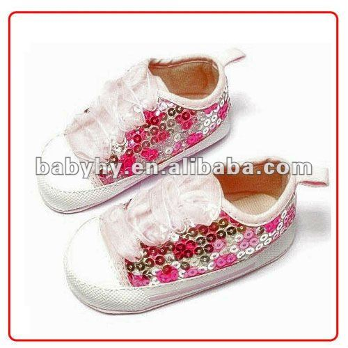 2012 China beaded best quality girls baby sequin shoe making BH-CA053E-2